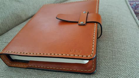 Handmade Leather Bible Covers - handmade leather bible cover in saddle with leather