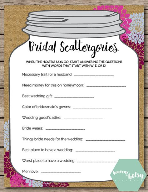 personalized bridal shower scattergories bridal shower mason jar scattergories bridal shower wedding game