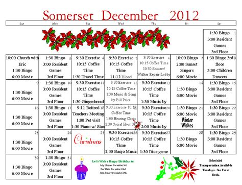 activity calendar template for seniors senior calendar december 2012 assisted living longview