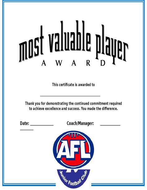 mvp certificate template most valuable player award certificate free
