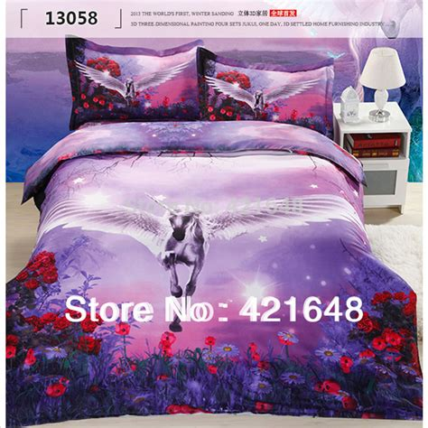 Girls Full Size Comforter Pegasus Horse 3d Unicorn Bedding Set Bedclothes Full Queen