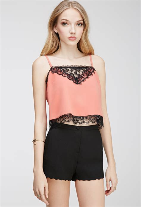 cropped lace camisole forever 21 lace paneled cropped cami in orange lyst