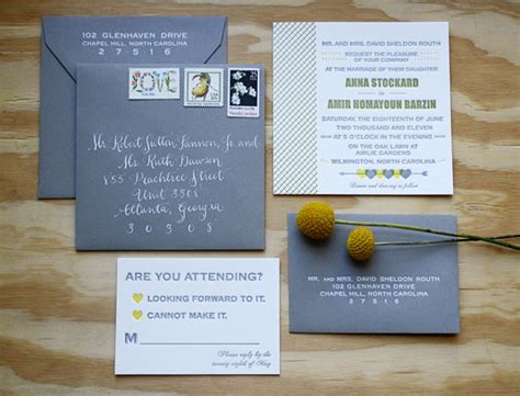 Wedding Invitations Yellow And Grey by Yellow Grey Letterpress Wedding Invitations Invitation