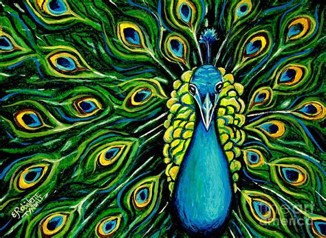 Painting 200x80cm 2 Peacock shimmering feathers of a peacock painting by elizabeth robinette tyndall