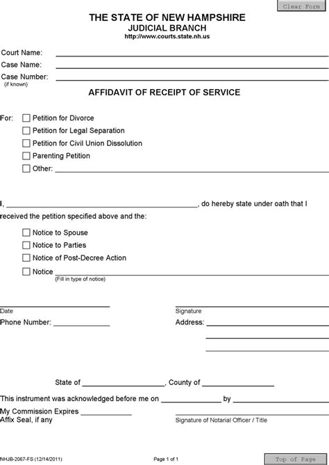 New Hshire Affidavit Form Download Free Premium Templates Forms Sles For Jpeg Png Affidavit Of Non Service Template