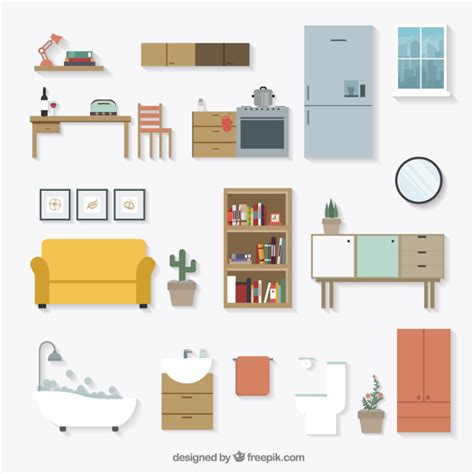home furniture icons vector free