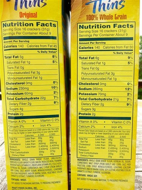 9 whole grains on food labels whole grain vs original wheat thins