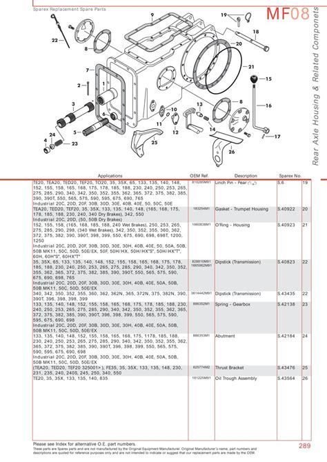 massey ferguson parts diagram massey ferguson rear axle page 299 sparex parts lists