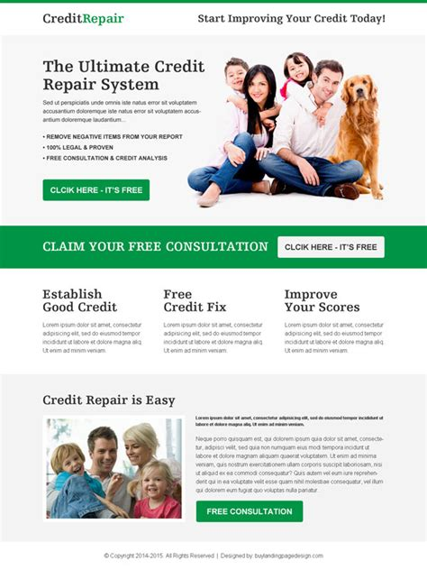 100 Best Click Through Rate Optimization Landing Page Design 2016 Credit Repair Landing Page Template