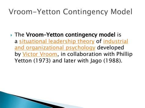 Baruch Mba Industrial And Organizational Psychology by Vroom Yetton Contingency Model