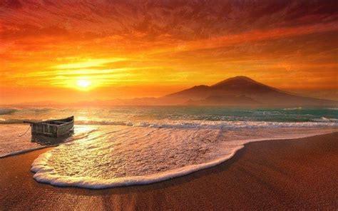 beach sunset mountain mist sea nature sand sky