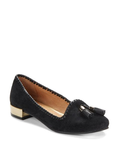 rogers loafers rogers gabrielle suede loafers in black lyst