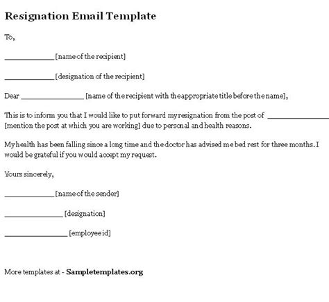 email template for resignation template of resignation