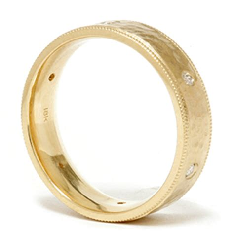 mens 14k gold hammered wedding ring band new