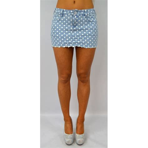 polka dot denim skirt womens summers