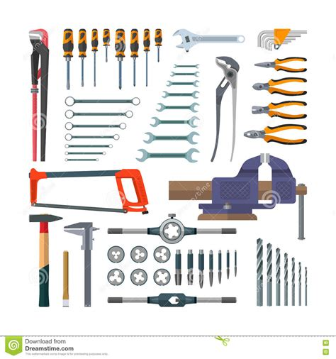 working tools flat icon set stock vector image 40282698 vector set of working tools in flat style design elements
