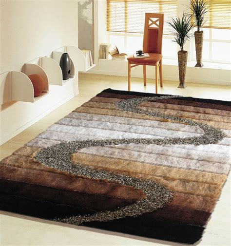 5 ft x 7 ft shaggy brown living room area rug