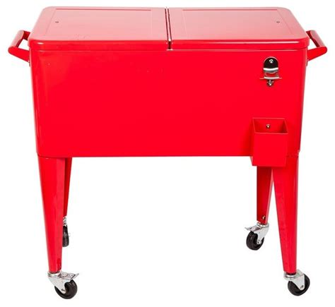 Hio 73 qt outdoor patio cooler table on wheels rolling cooler red contemporary coolers and