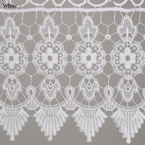 Macrame Lace - medallion macrame lace tier window treatment