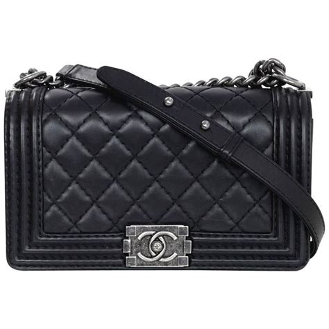 Chanel Calfskin Logo Flap Bag by Chanel Black Calfskin Leather Quilted Medium Boy Flap