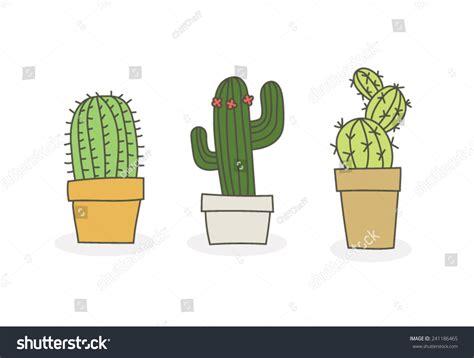 cactus doodle cacti succulent vector doodles stock vector