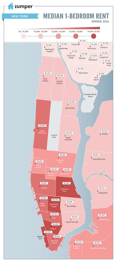 when are rent prices the lowest mapping nyc rent prices this spring 2016