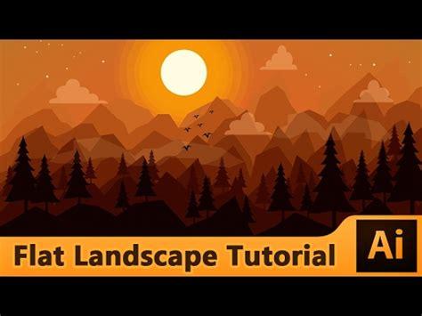 flat landscape illustrator tutorial for beginners youtube adobe illustrator flat landscape illustration tutorial