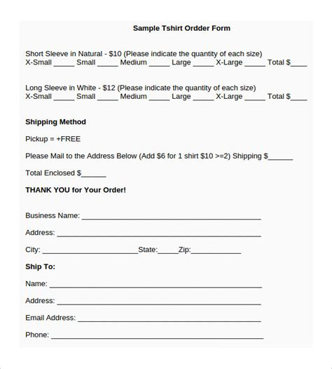 word form templates t shirt order form template 24 free word pdf format