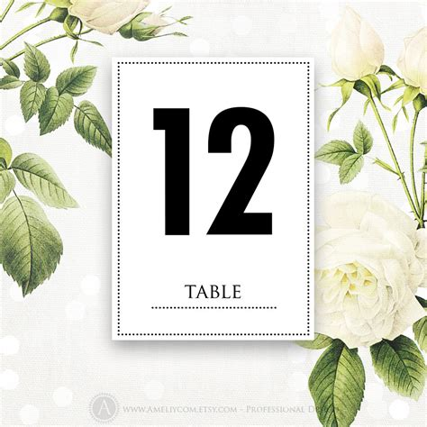 printable number table cards printable table numbers cards 5 x 7 instant