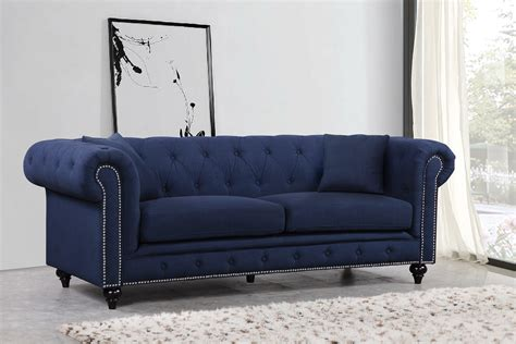 Chesterfield Sofa Navy Linen Buy Online At Best Price Best Price Chesterfield Sofa