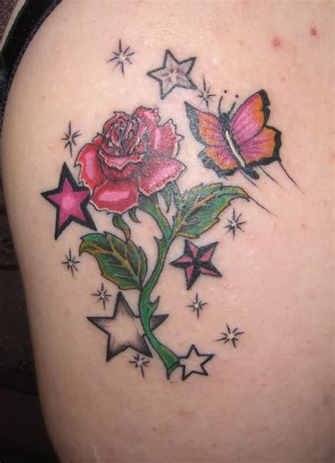 rose and butterfly tattoo designs and butterfly