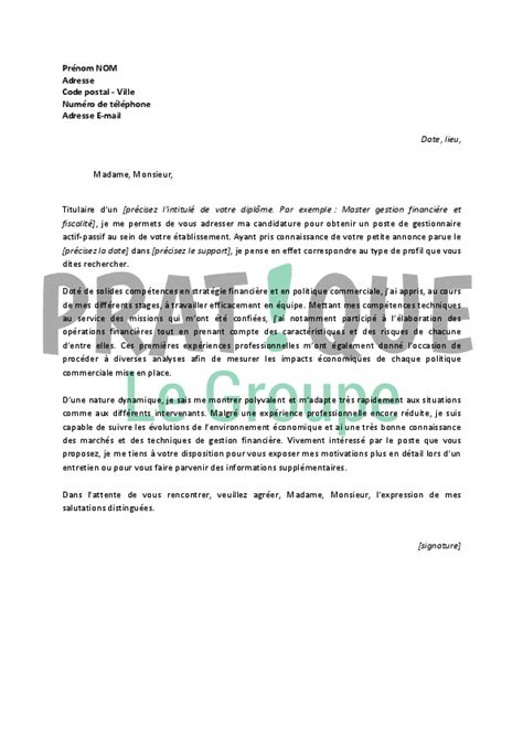 Lettre De Motivation De Gestionnaire Lettre De Motivation Gestionnaire Employment Application