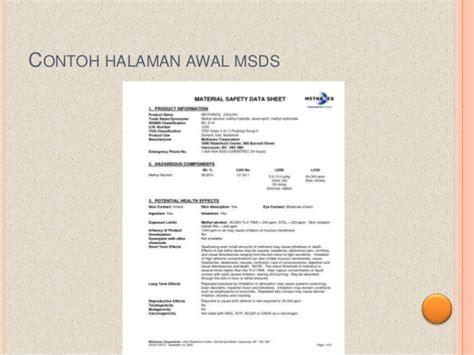 Msds Pupuk Dolomite Bahasa Indonesia pengenalan bahan kimia metanol