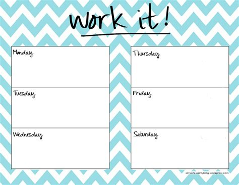 weekly exercise planner template calendar planner template calendar template 2016