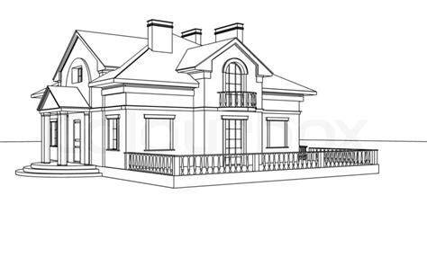 sketch a house drawing sketch of a house stock photo colourbox