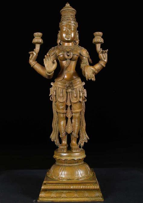 sold bronze laxmi  lotus flowers  bc hindu