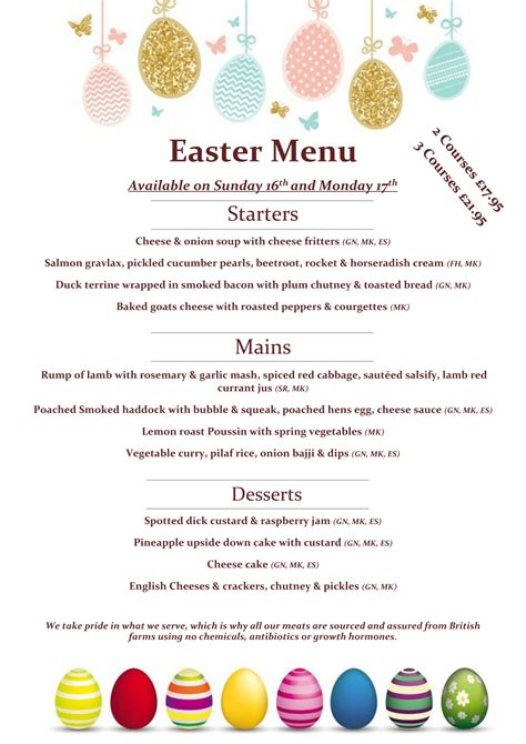 easter menu butlers restaurant
