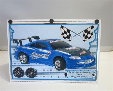 Car Birthday Cards For Blue Racing Car Birthday Card Layered