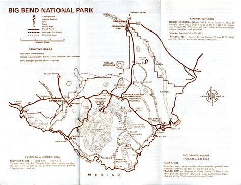 big bend national park texas map big bend national park texas brochures 1960 s chisos mountain lodge ebay