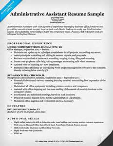 Assistant Resume Exle Administrative Assistant Resume Exle Write Yours Today
