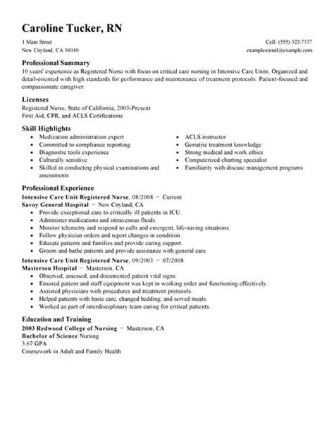 Resume Exles For Nurses In Icu Intensive Care Unit Registered Resume Exle Sle Resumes Livecareer