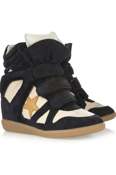 marant sneaker wedge marant bayley suede and leather high top wedge