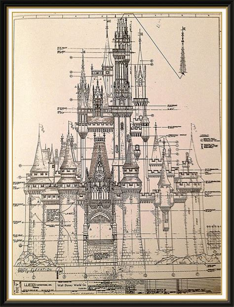 castle blueprint cinderella castle blueprint poster www imgkid the