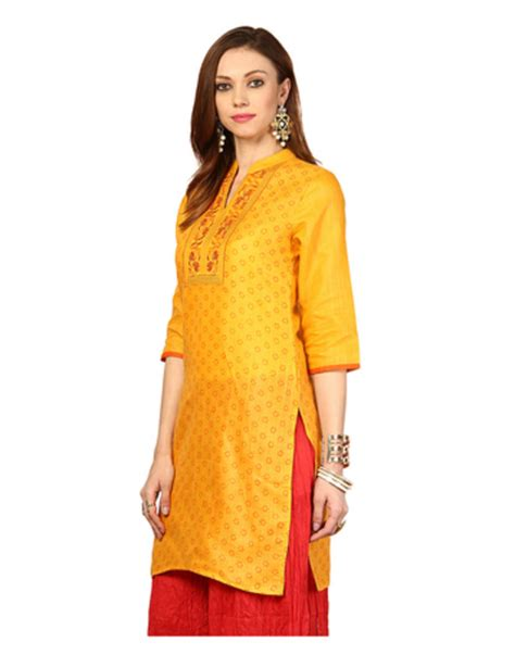 yellow kurti pattern buy yellow embroidery cotton kurtis online