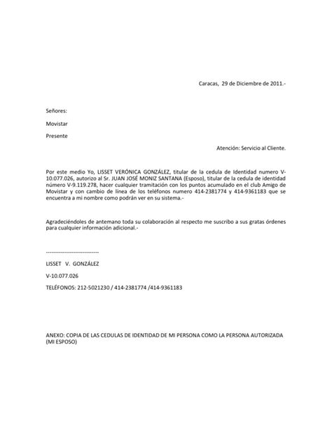 carta de autorizacion movistar autorizacion movistar lisset jm 10 6 11