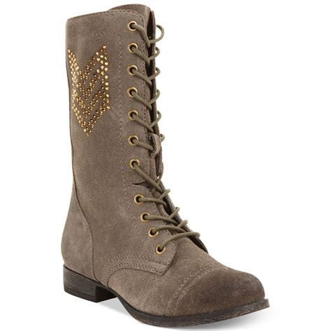 betsey johnson boots betsey johnson tempest combat boots in brown taupe lyst