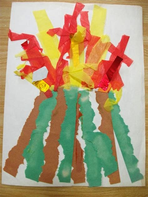 Crafts Using Paper Strips - preschool crafts for paper strips volcano craft