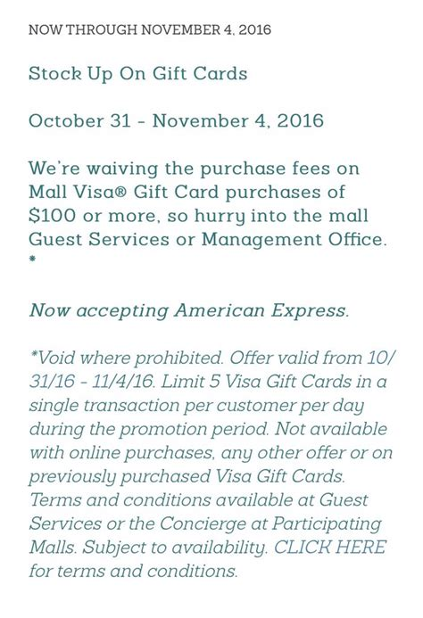 Visa Gift Cards No Fees - another no fee visa gift card promotion at macerich malls will run for miles