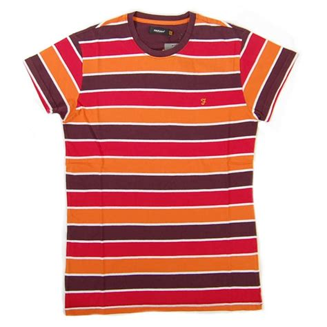 T Shirt Stripe by Farah Walter Stripe T Shirt Bordeaux Mens T Shirts