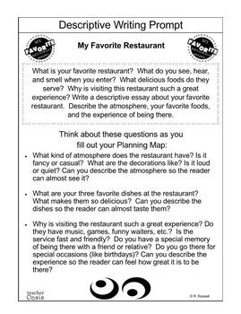 My Favorite Restaurant Essay by Descriptive Writing Prompt Quot My Favorite Restaurant Quot By Oasis
